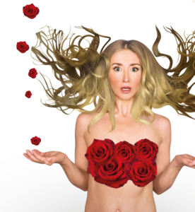 Unclothed woman with roses over her breasts and wild blond hair has a look on her face that says she greatly underestimated the complexities of her choices; her hands are palms facing up in a shrug Ashleigh Renard Swing Perfectionist mom takes doing it all to the next level a memoir of doing it all